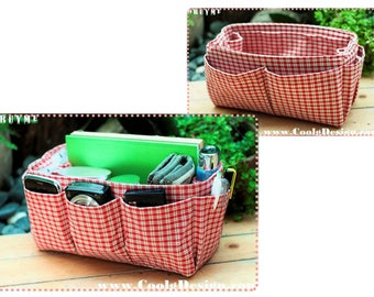 Handbag Organizer, Liner, Insert 14 Compartments Perfect For Medium and Large Tote, Red plaid