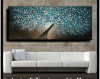 SALE 72 x 30 Oil Painting Original Abstract Texture Custom Blue Aqua Teal Brown White Floral Tree Sculpture Knife Painting by Je Hlobik