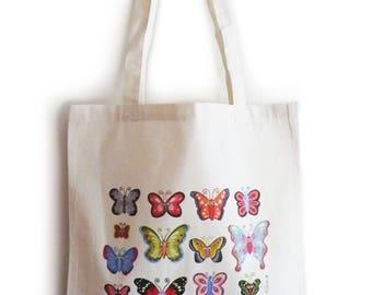 "Sac Tote bag en coton Bio ""Papillons"", accessoire femme, ado, fille, sac de courses, cabas"