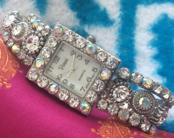 Bracelet watch crystal encrusted three strands rhinestones needs battery