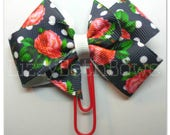 Planner clip, bookmark, planner bow clip, bow bookmark, roses and polka dots bow