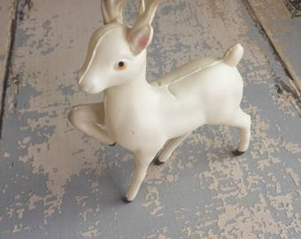 VINTAGE White Reindeer Figurine- Christmas - Holiday Decor