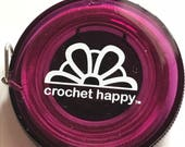 "Crochet Happy Measuring Tape. PURPLE A compact light-weight 60"" measuring tape just for your crochet bag."