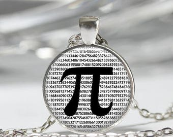 ON SALE Pi Necklace Math Jewelry Teachers, Science, Mathematics Black and White Art Pendant in Bronze or Silver with Link Chain Included