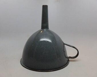 Vintage Enamelware Funnel - Granitware Funnel - Kitchenware