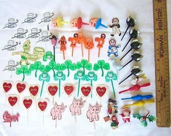 Cake Decorations, Vintage, Picks,  Crafts, SuppliesChristmas, Halloween, Valentines Day, Thanksgiving, St Patricks day, 1970s, 59 pcs