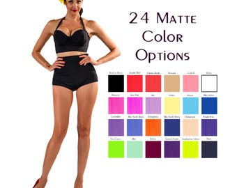 ON SALE Ready To Ship, Solid Matte High Waist Bikini Bottom - XS-Xx, Multiple Color Choices, Retro Swimsuit, Summer Outdoors, Plus Size