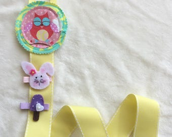 Happy Owl Felt Fabric Hair Bow and Clip Holder Keeper with Yellow Stitched Ribbon