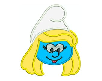 Smurfs, Smurfette 1, birthday, tshirt, bag - Machine Applique Embroidery - Instant Digital Download