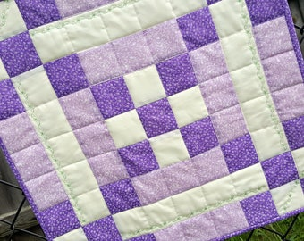 Quilted Table Mat, Springtime Patchwork in Lilac with decorative stitching for your Kitchen or Dining Home Decor