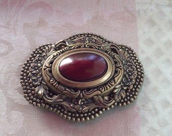Large Vintage Goldtone Brooch Victorian look