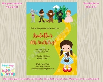 Wizard of Oz birthday Invitation invite Dorothy birthday party printable DIY Print Your Own