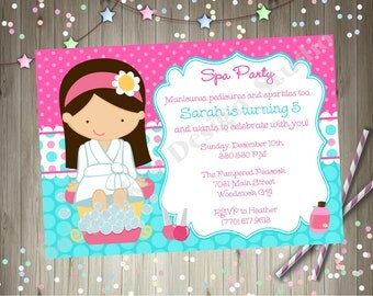 Spa Party Invitation - Spa Birthday Party - Spa invitation - Print Your Own - CHOOSE YOUR GIRL