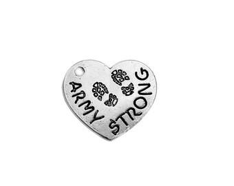 Army Charm Military Charm Silver Heart Charm Army Pendant Silver Army Pendant ARMY STRONG Word Charm Silver Charm