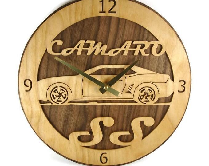 Chevy Camaro SS Wall Clock Art Handmade From Birch And Walnut Wood By KevsKrafts Quartz Clock Movement