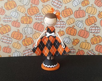 Halloween Miniature Wooden Clothespin Doll