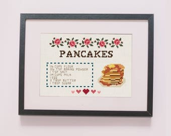 Pancakes recipe counted cross stitch pattern