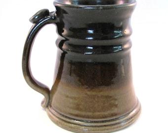 Large Stein - 24 oz. - Green Tankard - Stein - Coffee Mug - Handmade Pottery - Pottersong - Walnut Brown and Tan - Big Brown Stein