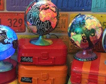 """World Globe 10"""" X 11"""" LIGHTED with your custom Lyrics Names Quotes 14 colors to light up with remote 4 light modes"""
