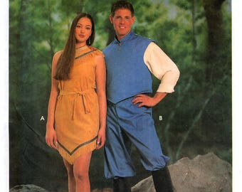 Simplicity 9729 Sewing Pattern for Misses', Men's, Teen-Boys' and Girls' Pocahontas and John Smith Costumes - Uncut - Sizes XS-XL
