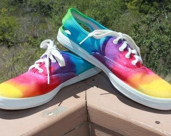 Tie Dye Keds Rainbow Shoes Upcycled Size 10
