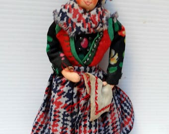 Vintage Doll, Fold Art Doll,  Figure Peasant woman, Scottish, Antique old vintage childrens toy  doll collectible,   unique gift under 20