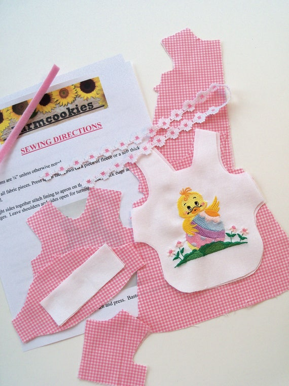 """14"""" Size /COMPLETE SEWING KIT  for Embroidered  Easter Apron Dress /Fits 14"""" American Girl Wellie Wisher Dolls"""