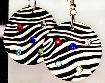 Fun Zebra Print Polymer Clay Earrings with Embedded Rhinestones