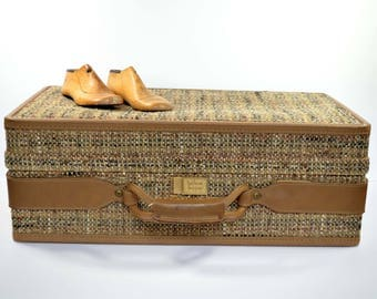Vintage Hartmann Tweed Luggage Suitcase Walnut Belted 1950s 1960s