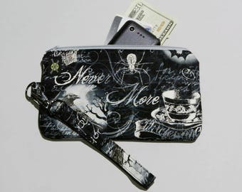 Gothic Wicked Phone Clutch Wristlet Purse, Skulls Ravens Bats Spiders, Black and White, Detachable Strap