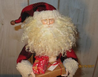 Primitive Christmas Decor Santa Claus Porcelain Head & Hands Red and Black Wool St Nick Darlas Closet