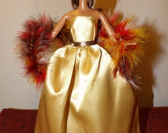 Stunning gold Satin formal with attached tulle slip & colorful feather boa for Fashion Dolls - ed1052