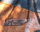 Loyalty Hound Tennessee shaped Copper necklace