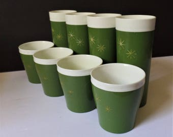 Hi-Kool Tumblers Cups Glasses  Vintage 1950's Mid Century green thermal atomic starburst drinkware
