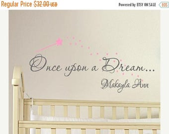 20% OFF Once upon a Dream... Personalized - childrens nursery  -  Vinyl Lettering wall words graphics  decals  Art Home decor itswritteninvi