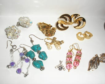 Vintage; Turquiose/Crystal/Naiper/Pierced/Clip/Earrings/Pendent  Lot 10