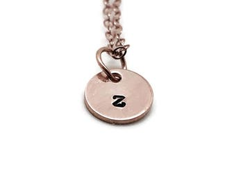 Initial Necklace, Rose Gold, Letter z Necklace, All Letters Available, Hand Stamped Jewelry, Personalized Jewelry, Mother's Necklace, Custom
