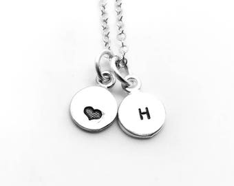 Mini Initial Necklace with Heart, Sterling Silver, Tiny Initial, Hand Stamped Jewelry, Heart Necklace, Letter H Necklace, All Letters Avail
