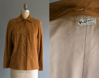Vintage 1940's Vascelli Suede Imported Leather Button Up Jacket, Unisex Adults