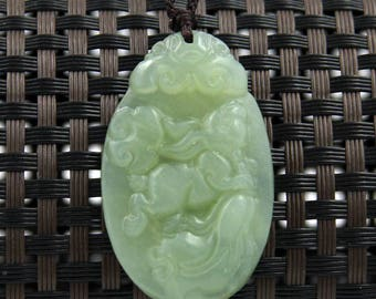 Natural Xiuyan Stone Rabbit Chinese Cabbage Fortune Amulet Talisman Charm Pendant 40mm x 25mm  T2408