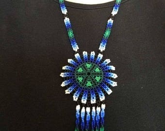 Blue necklace Huichol Beads Chaquira