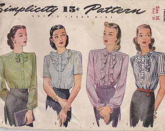 Vintage 1940s Sewing Pattern Lot, Vintage Sewing Pattern Lot of Seven (7)