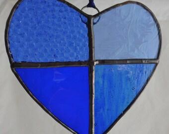 Blue Heart in Stained Glass Suncatcher Light Catcher