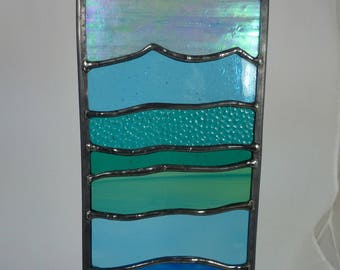 Stained Glass Ocean Wave Panel Suncatcher MTO