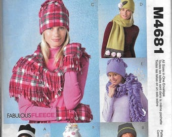 McCall's Fashion Accessories M4681 Misses Hats, Scarves and Mittens Sewing Pattern Fleece Knit Wool