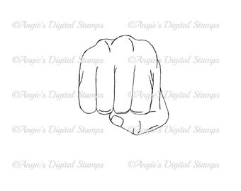 Fist Punch Digital Stamp Image