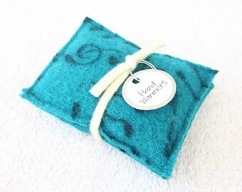 Hand Warmers MUSIC NOTES Teal & Black Felted Sweater Wool Rice Bags Reusable Handwarmers Teacher Coworker Gift Stocking Stuffer WormeWoole
