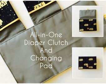 READY TO SHIP All-in-One Diaper Clutch and Changing Pad, Star Wars Black/Gold diaper clutch and changing pad