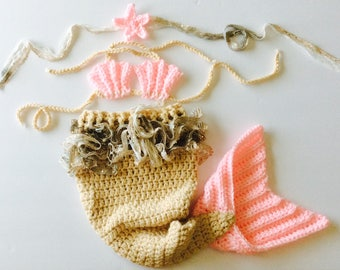 READY TO SHIP Mermaid Baby set, 3 piece baby photo prop set, taupe/pink/gold, size Newborn