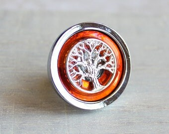 orange drawer pull, cabinet knob, cabinet pull, tree of life, tree knob, dresser knob, decorative knob, cabinet hardware, kitchen knob